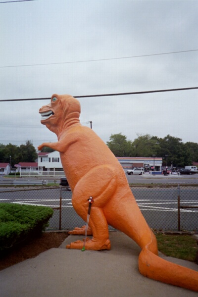 Putt's not intimidated by the big dino